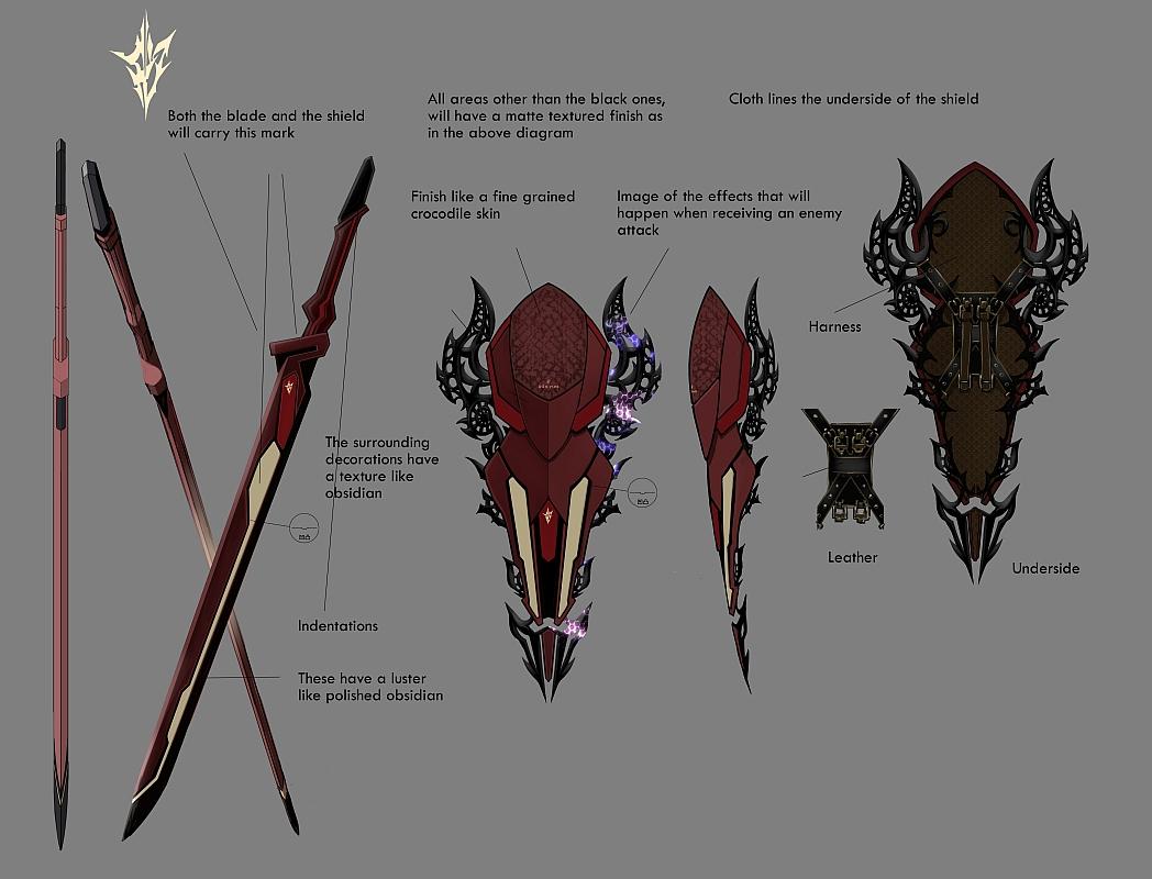 Lightning's default costume, Equilibrium, blade and shield concept artwork.