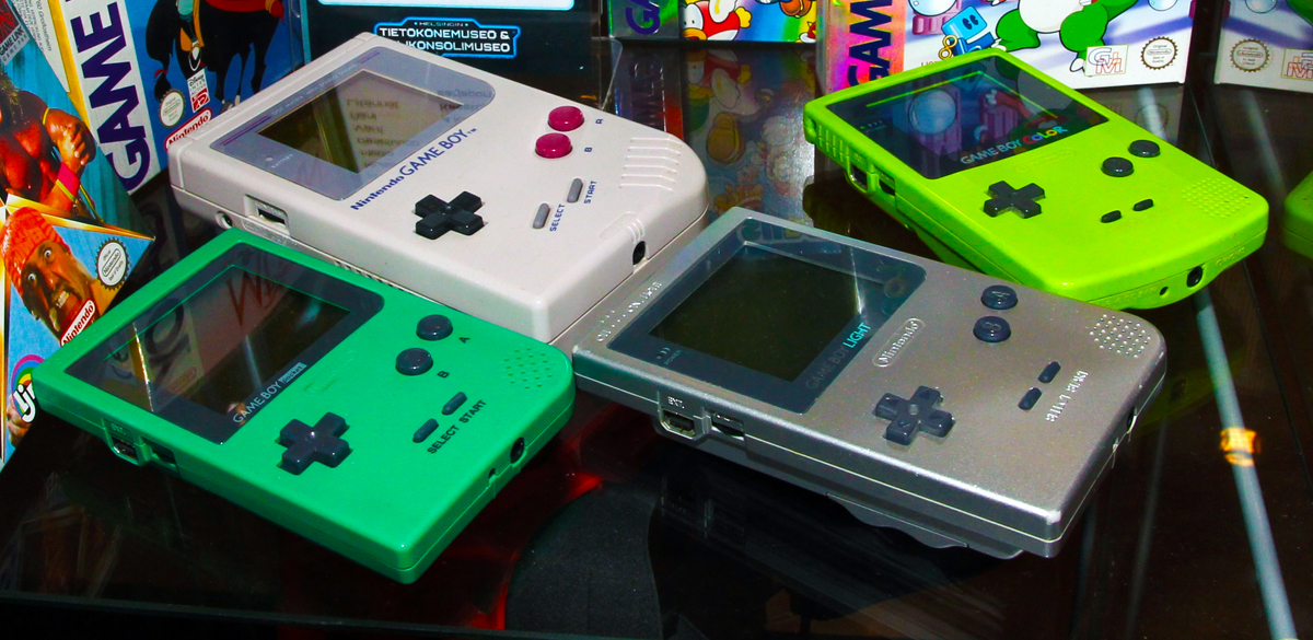Nintendo Game Boy, Game Boy Pocket, Game Boy Light and Game Boy Color handheld game consoles in Helsinki Computer and game console museum.